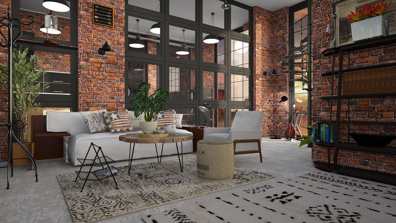 Intérieur salon style industriel