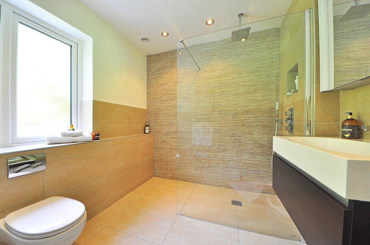 Salle de bain lumineuse avec douche italienne et grande vasque