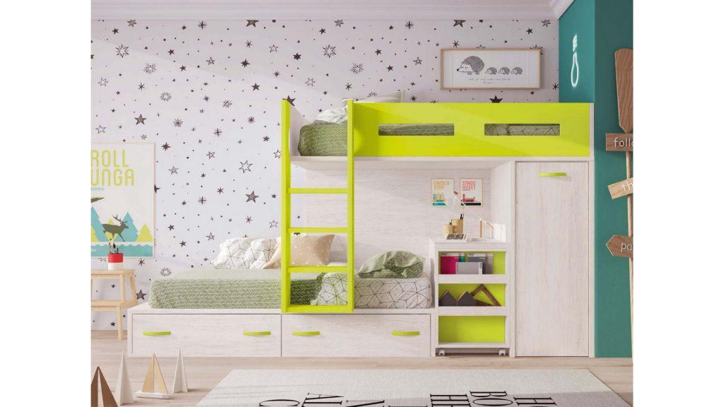 Lit superposé enfant vert et bois avec rangement intégré