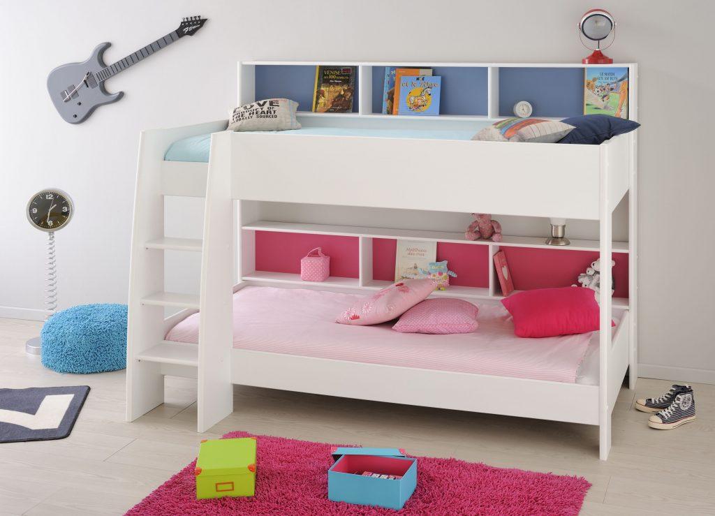 Lit superposé en bois, pour fille et garçon deux univers bleu et rose avec rangement